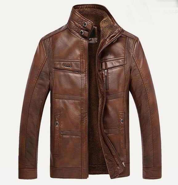 Men's Jacket Warm Collar Wool Thicken Leather for Winter Business Motorcycle