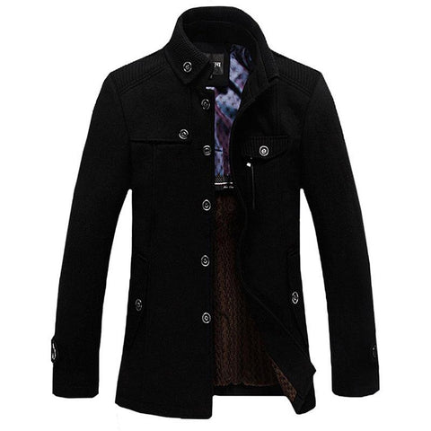 Men's Jacket Wool Casual Thicken Stand Collar Windbreaker Trench for Winter