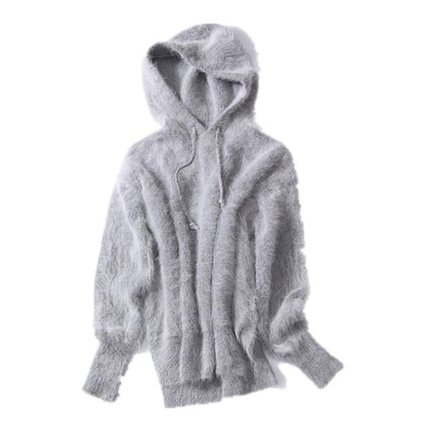 Women's Sweater Angora Knitted with Cap Mink Cashmere Warm Loose Thick for Winter
