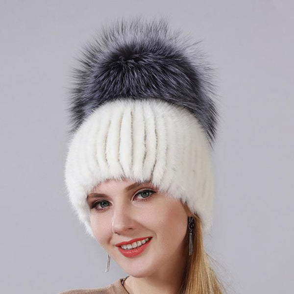 Women's Hat Natural Mink Fur with Foz Gourd Shape for Winter