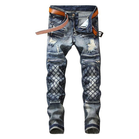 Men's Trousers Stylish Ripped Hole Straight Retro Leisure Denim