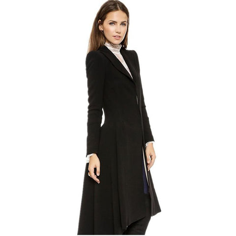 Women's Coat Swallowtail Long Trench Plus Size Wool Outwear for Autumn Winter