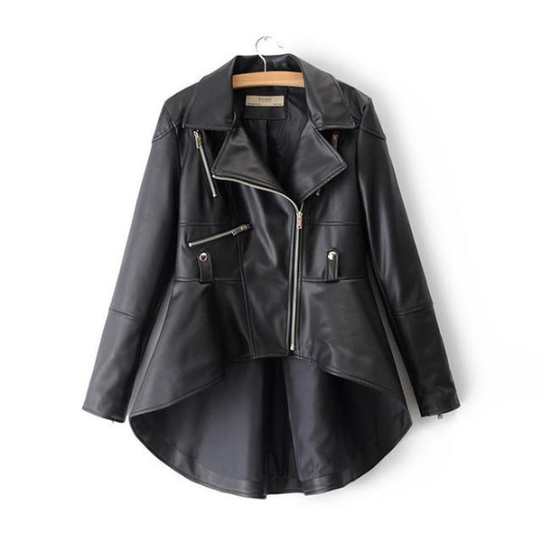 Women's Jacket PU Leather Long Sleeve Turn-down Collar Zippers Irregual Hem Loose for Autumn Winter