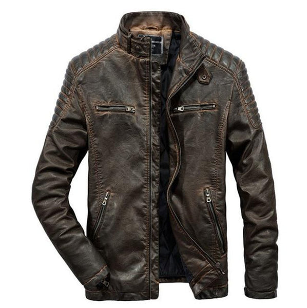 Men's Jacket PU Leather Warm Casual Vintage for Winter Motorcycle