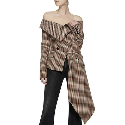 Women's Blazer Off Shoulder Plaid Slash Neck Long Sleeve Irregular Hem Plus Size for Autumn