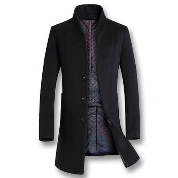 Men's Jacket Thick Woolen Casual Slim Fit for Winter Autumn Business