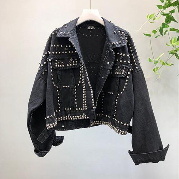 Women's Denim Jacket Heavy Hand Beaded Rivet Short Basic Outfit Jean Cloth for Autumn