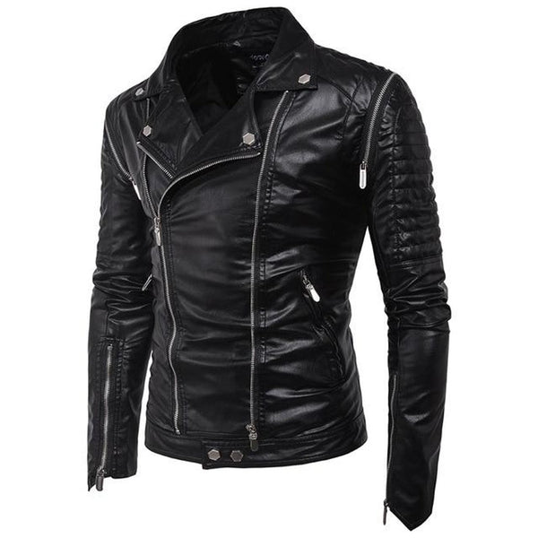 Men's Jacket Casual Zipper Leather Slim Fit for Winter Autumn Motorcycle