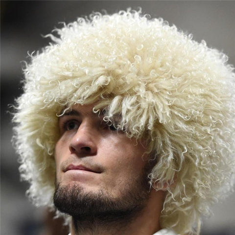 Men's Bomber Hat  Style Real Lamb Fur Winter Trapper Natural UFC for The Eagle Khabib Russian