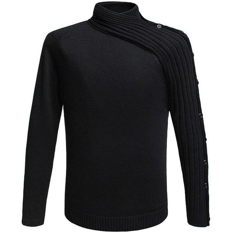 Men's Sweater European Style Mandarin Collar Neck Knitted
