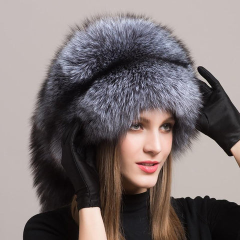 Women's Hat Real Natural Fox Fur Russian Outdoor Warm for Winter