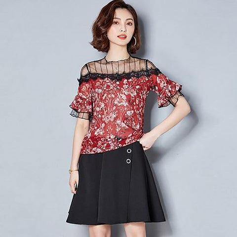 Women's Shirt Lace Patchwork Floral Printed Chiffon Basic All Match for Summer