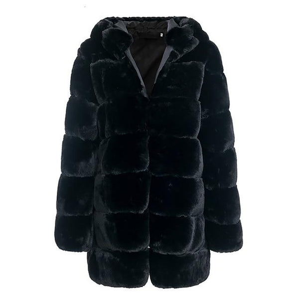 Women's Coat Vintage Fluffy Hooded Faux Fur Plush Plus Size Warm Thick Casual Outwear for Winter