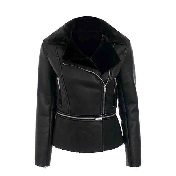 Women's Jacket PU Leather Plus Size Zipper Pockets Thick Outwear for Winter Office