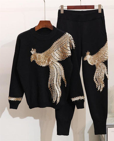 Women's Pullover with Trousers Clothing 2pcs/set Handmade Beading Sequined Pattern Long Sleeve Knitted for Winter