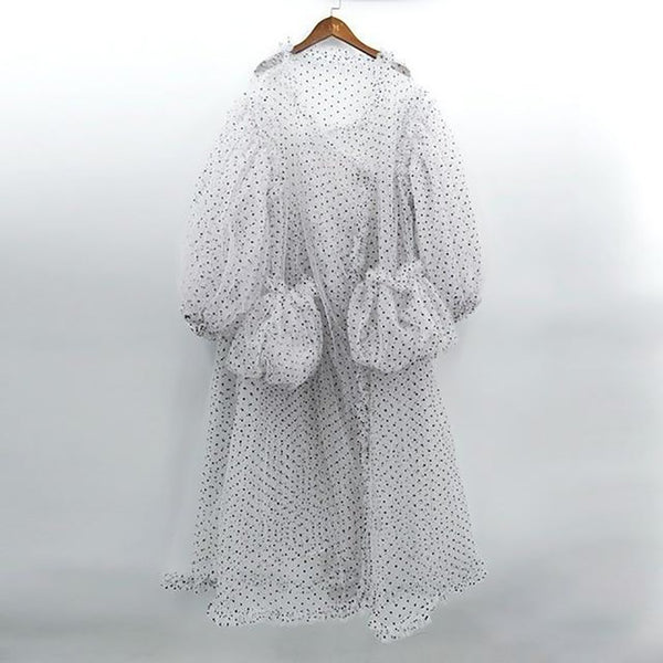 Women's Blouse V-collar Long Lantern Sleeves Dot Printed Big Size for Autumn Winter