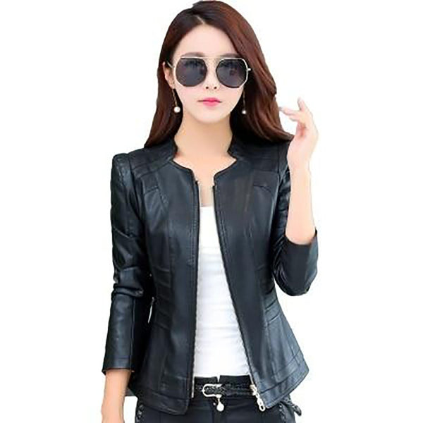 Women's Jacket Outwear Large Size Short Slim Leather for Autumn