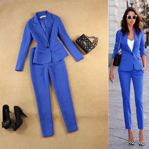 Women's Jacket and Pant Suit 2pcs/set Long Casual for Career