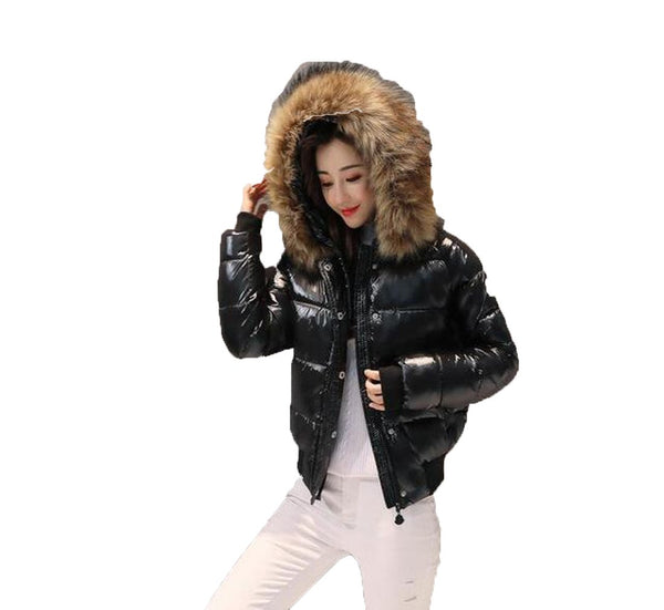 Women's Down Jacket Fur Bright Short Cotton Padded Thick Wool Collar for Winter