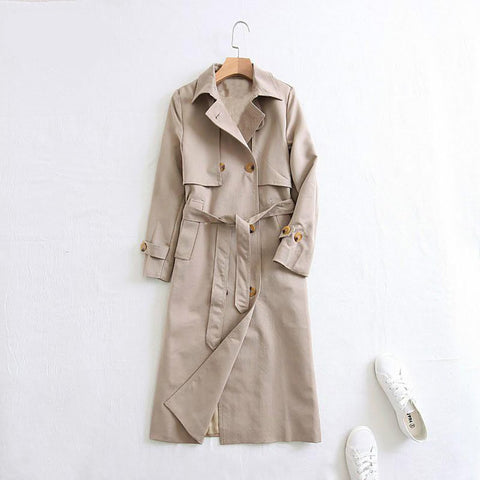 Women's Coat Lapel Long Double Breasted Trench for Autumn Winter