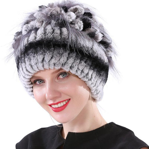 Women's Hat Rabbit Knitted Elastic Real Fur for Winter