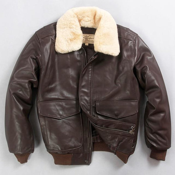 Men's Coat Air Force Flight Fur Collar Leather Sheepskin for Winter