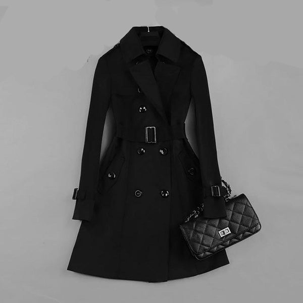 Women's Coat Classic Double Breasted Mid-long Trench Slim Windbreaker Outwear for Spring Autumn Business
