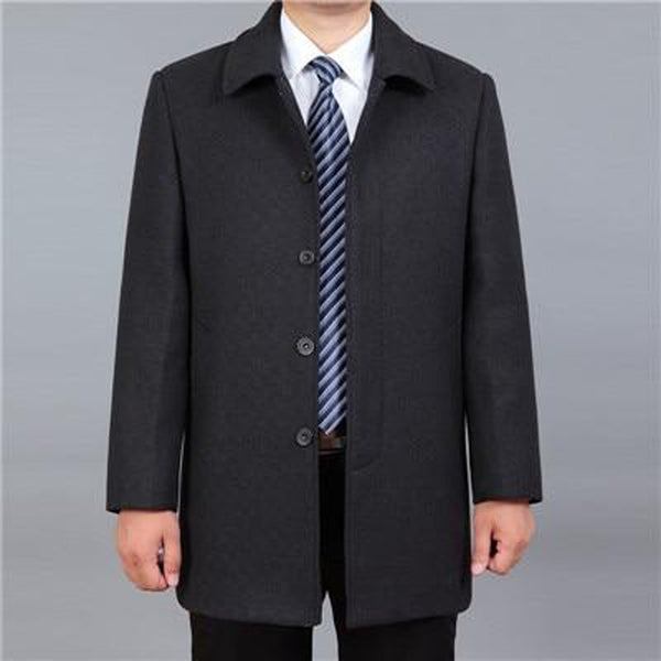 Men's Jacket Woolen Turn Down Collar Casual Large Size