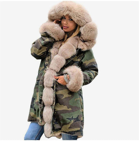 Women's Coat Fur Collar Plus Size Thick Hooded Long Outwear Warm forn Winter