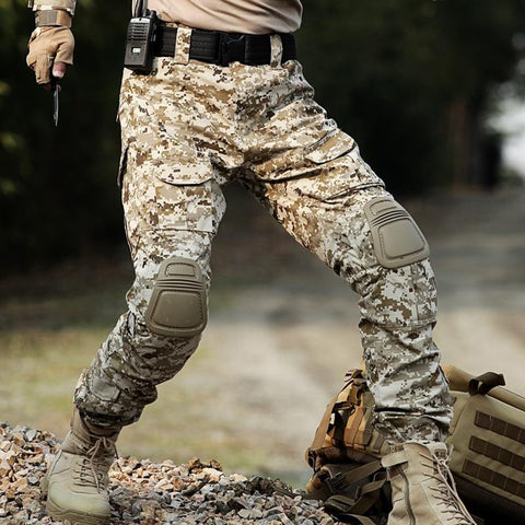 Men's Cargo Pants Military Camouflage Knee Pads