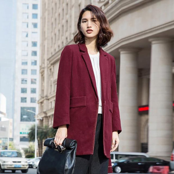 Women's Woolen Coat Minimalist Casual Solid Thick Turn-down Collar V-neck Long for Winter