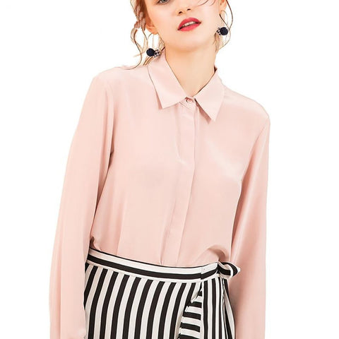 Women's Blouse Long Sleeved 100% Real Silk Crepe Basic Button for Office