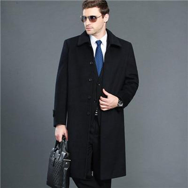 Men's Jacket Wool Cashmere Single Breasted Turn Down Collar Casual X-long for Winter