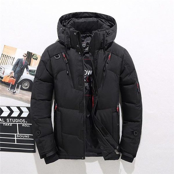 Men's Coat Thicken Hooded Long Sleeve Down Zipper Pocket Warm for Winter