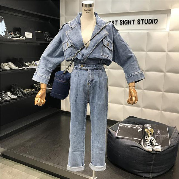 Women's Jeans Jumpsuit Retro Long Sleeve Denim Loose BF Wind Casual for Autumn