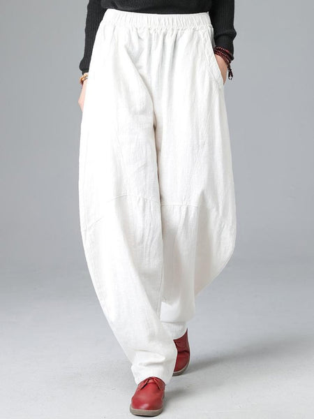 Women's Loose Trousers Crotch Cotton Flax for Autumn Winter