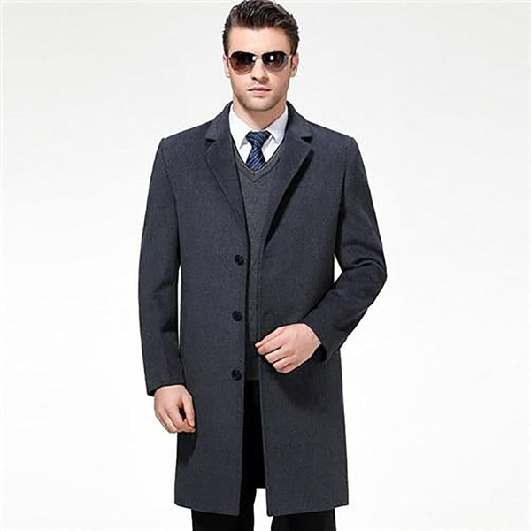 Men's Jacket X-long Casual Wool Blend Suit Collar Long Cashmere for Winter