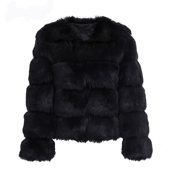 Women's Coat Vintage Fluffy Faux Fur Short Furry Outwear Casual for Winter Autumn Party