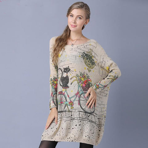 Women's Sweater Long Oversize Cat Bicycle Print Casual Batwing Sleeve for Winter