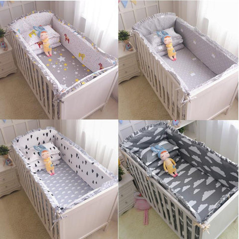 Baby's Crib Bumpers 6pcs/set 100% Cotton Cartoon Safety
