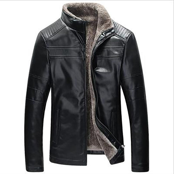 Men's PU Leather Jacket Thick Fleece Casual Slim Fit Large Size Zip for Winter