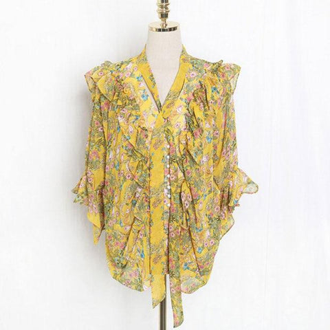 Women's Shirt One Size Chiffon Casual Small Floral Printed