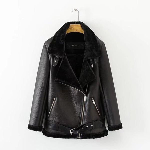Women's Coat PU Leather Warm Padded Thickened Punk Lapel European American for Autumn Winter