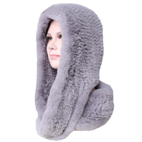 Women's Scarf Cap Knitted Real Rex Rabbit Fur Earwarmer soft Fashionable 2 Uses
