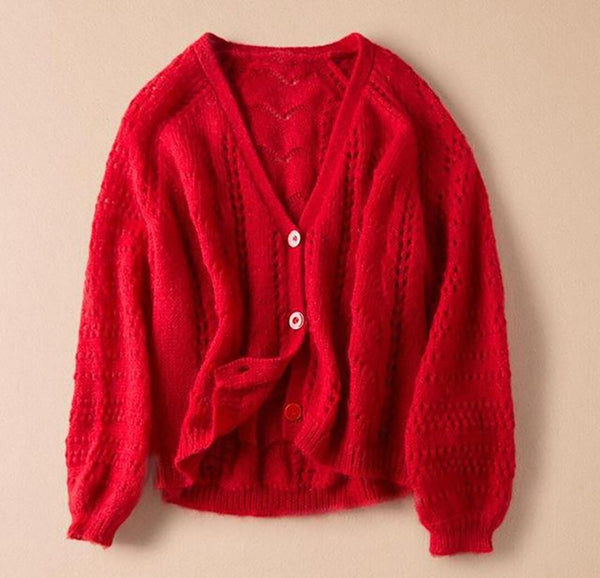 Women's Cardigan Wool Blend Hollow out Knitted V-neck Long Sleeve