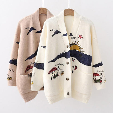 Women's Sweater Embroidery Knit V-neck Single Breasted Casual Loose Outwear for Autumn