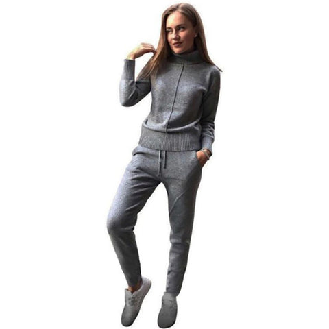 Women's Sweater and Pants 2pcs/set Woolen Cashmere Knitted Warm High Collar Mink Loose Style for Winter