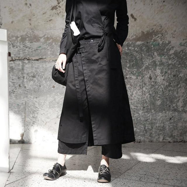 Women's Trousers High Elastic Waist Loose Vent Long Wide Leg for Autumn Winter