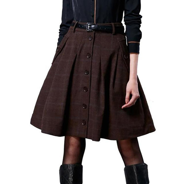 Women's Skirt Wool Short Vintage Plaid for Autumn Winter