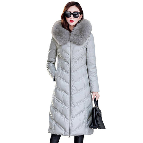 Women's Leather Jacket Down Large Size Fox Fur Collar Slim for Winter